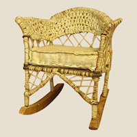 "Charming Handmade ""Wicker"" Miniature Doll Rocking Chair."