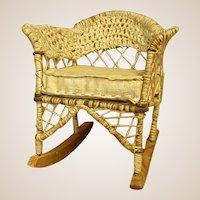 "Charming Handmade ""Wicker"" Miniature Doll Rocking Chair."