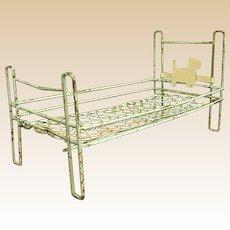 Precious Wire Art Deco Doll Bed with Scottie on Headboard