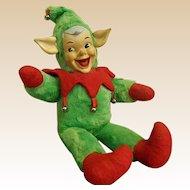 1950s Plush Rubber Face Stuffed Pixie Elf