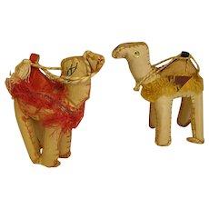 Wonderful Vintage Leather Camel Figures