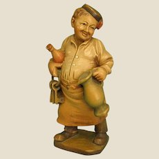 Anri Hand Carved Wooden Painted Figure Jovial Wine Steward