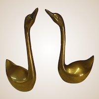 Pair of Small Decorative Brass Swans