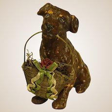 Adorable 1930s Figure of Dog Holding Wire Basket of Flowers