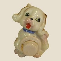 Darling Porcelain Dog Figure Holding Hat