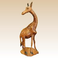 Graceful Carved Wooden Giraffe