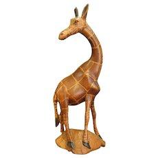 Graceful Carved Wooden Giraffe