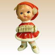 Adorable Napco Ware Christmas Figure Little Girl with Concertina