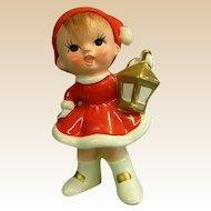 Adorable Napco Ware Christmas Figure Little Girl with Lantern