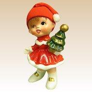 Adorable Napco Ware Christmas Figure Little Girl with Christmas Tree