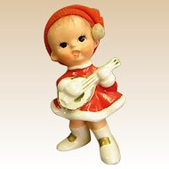Adorable Napco Ware Christmas Figure Little Girl with Guitar