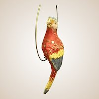 Colorful Metal Parrot Perched on Hanging Hoop