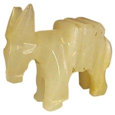 Charming Miniature Carved Quartz Agate Donkey