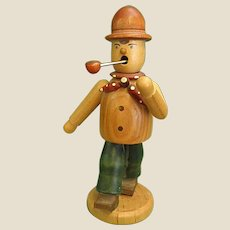 Wooden German Smoker Man with a Pipe