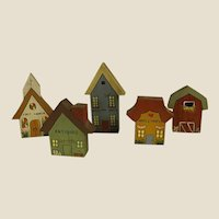 Darling Hand Painted Wood Miniature Village