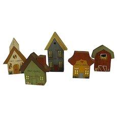 Darling Hand Painted Wood Miniature Village