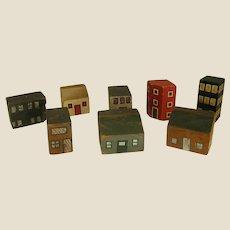 Painted Wooden Block Buildings 8-Piece Set Village