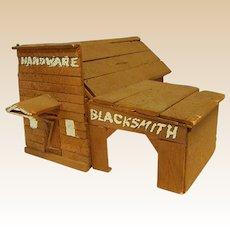 Rustic Homemade Wood Blacksmith and Hardware Shop