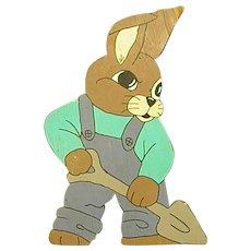 Darling Wooden Bunny with Shovel Yard Art/Decoration