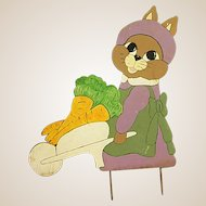 Precious Wooden Bunny with Wheel Barrow Yard Art/Decoration