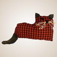 Sassy Red and Black Checked Handmade Cat