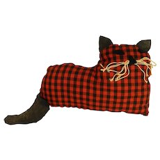 Sassy Red and Black Checked Handmade Cat