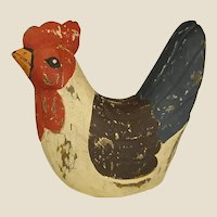 Rustic Carved Painted Wooden Chicken