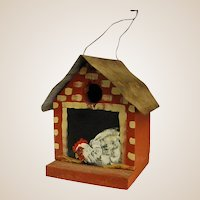Cute Red Painted Hand-made Birdhouse with Chicken