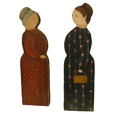 Darling Folk Art Wooden Hand Painted Country Ladies
