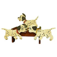 Set of Adorable Handmade Yard Art Three Dalmatian Puppies
