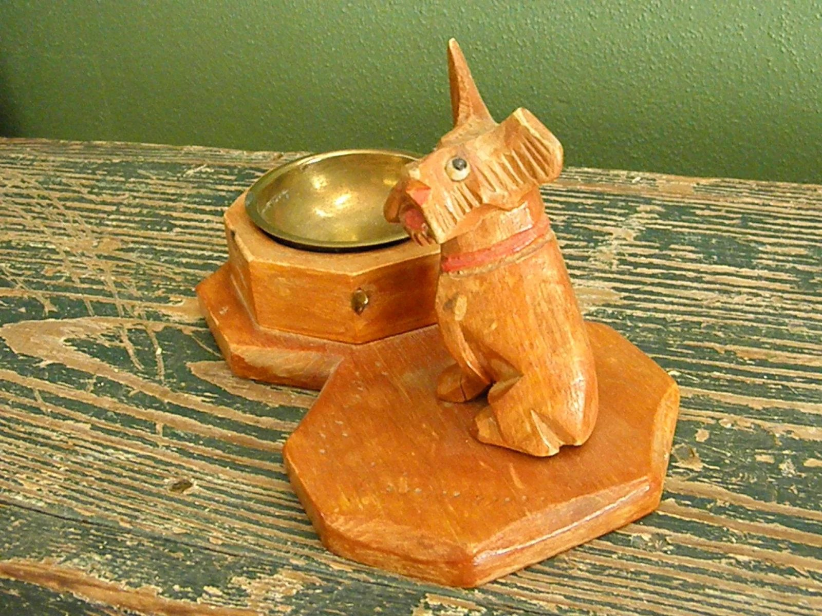 Handcarved Wooden Schnauzer Dog Ashtray From Pre Wwii