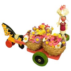 Cute Wooden Horse-Drawn Cart with Putz-style Man Flower Vendor