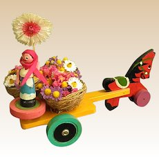 Cute Wooden Horse-Drawn Cart with Putz-style Woman Flower Vendor