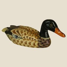Vintage Hand Carved Painted Wooden Duck Decoy