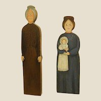 Darling Folk Art Wooden Hand Painted Country Grannies