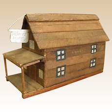 Wonderful Primitive Handmade Wooden Hotel Made out of Cigar Box