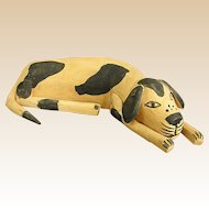 Charming Folk Art Wood Spotted Hound
