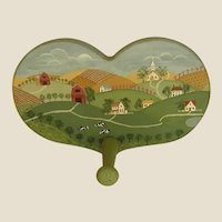Charming Hand Painted Country Scene on Leash or Coat Hook