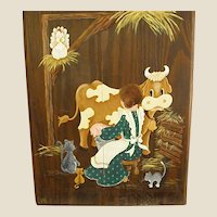 Whimsical Country Painting Milking Cow