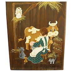 Whimsical Country Painting on a Cabinet Door Milking Cow