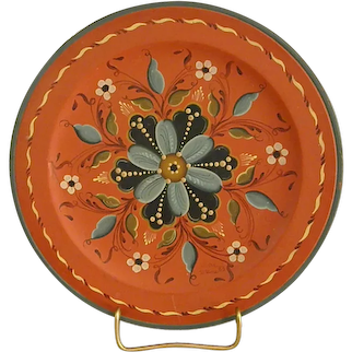 Beautiful Signed Rosemaling Wooden Plate