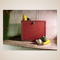 Timeworn Wooden Box with Metal Trim