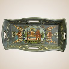 Wonderful Wooden Tray with Rosemaling or Tole Decoration