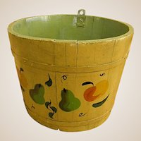 Wonderful Hand Decorated Old Maple Sugar Bucket