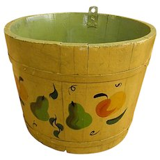 Wonderful Hand Decorated Old Maple Sugar Bucket