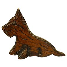 Cute Little Hand Carved Wooden Scottie