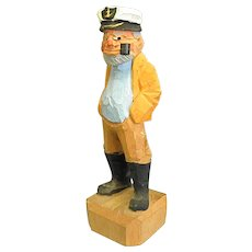Crusty Faced Hand Carved Wood Sea Captain Sailor