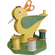 Cute Wooden Folk Art Sewing Bird Caddy Organizer
