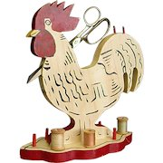 Whimsical Hand Decorated Folk Art Wooden Rooster Sewing Bird