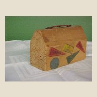 Folksy Wooden Souvenir Suitcase Bank